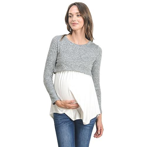 9f2ccfb7e2745 Hello MIZ Women's Maternity Nursing Tunic Top with Empire Waist
