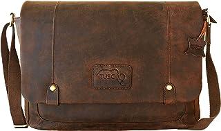 TUSC TUSC Charon Braun Leder Tasche Vintage Laptoptasche bis 17 Zoll Herren Damen Unisex Umhängetasche Aktentasche Schultertasche für Büro Notebook Messenger Bag Laptop iPad, 41x31x12cm