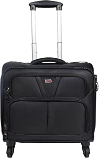Murano Vegabond 4 Wheel Polyester 28 ltr Black Soft-Sided 15.6 inch Laptop Overnighter Bag/Luggage Bag