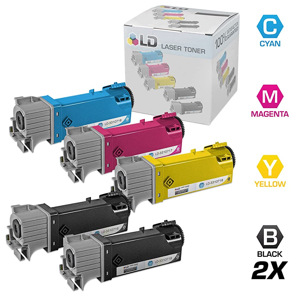 LD Compatible Dell 331-0716, 331-0717, 331-0718 and 331-0719 Set of 5 Toner Cartridges: 2 Black, 1 Cyan, 1 Magenta and 1 Yellow for use in Dell 2150cdn, 2150cn, 2155cdn, and 2155cn Printers