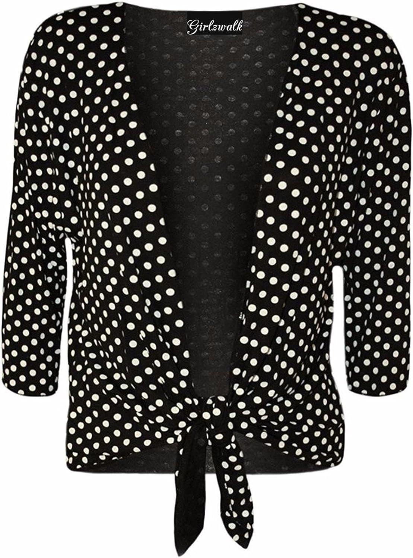 GirlzWalk Women Polka Dot 3/4 Sleeves Tie-up Shrug Plus Size 10-24
