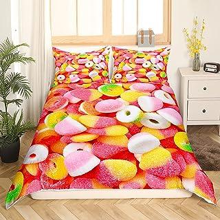 Parure de lit avec housse de couette pour chambre d'enfant - Motifs bonbons multicolores - 220 x 240 cm - Rose et jaune