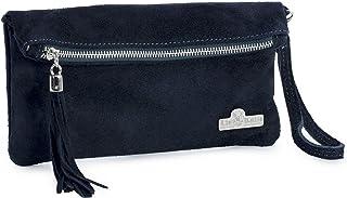 LiaTalia Womens Real Italian Suede Leather Party Clutch Evening Wedding Wristlet Bag Purse - Ruth