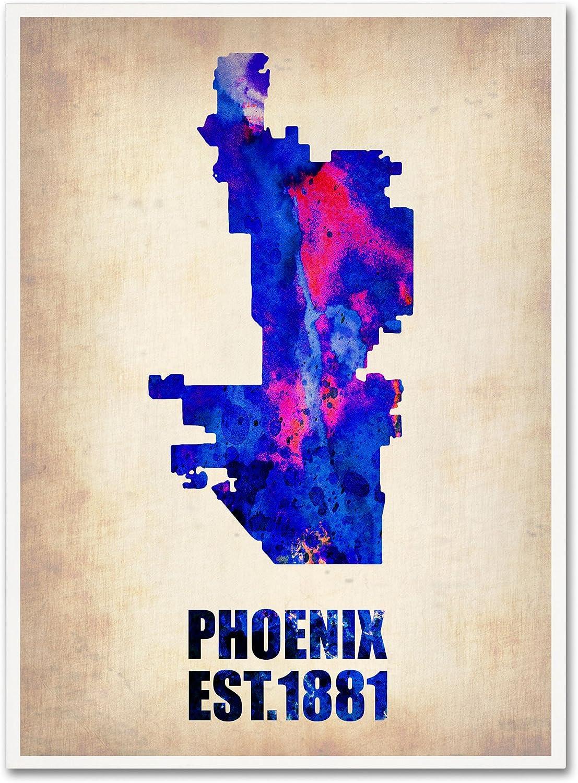 Trademark Fine Art Phoenix Watercolor Map by Naxart Canvas Wall Art, 18 by 24Inch