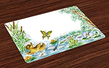 Lunarable Duck Place Mats Set of 4, Butterfly Duckling and Frog Playing Together on Pond Flowers Trees Dragonfly, Washable Fabric Placemats for Dining Room Kitchen Table Decor, Green Brown Yellow