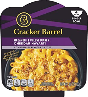 Cracker Barrel Single Bowl Cheddar Havarti Macaroni & Cheese Dinner, 3.8 oz Package