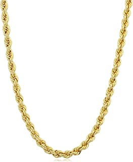 Kooljewelry 14k Yellow Gold Filled 3.2mm Rope Chain Necklace (16, 18, 20, 22, 24, 26, 30 or 36 inch)