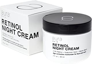 Aura Skin 2.5% Retinol Moisturizer with Hyaluronic Acid, Vitamin B5, Vitamin C, Vitamin E, and Organic Extracts