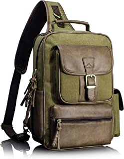 Leaper Outdoor Sling Bag Crossbody Travel Bag Shoulder Backpack Daypack Khaki