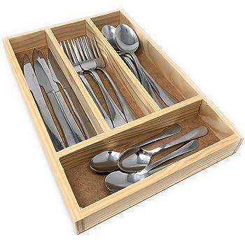 elbm/öbel bamb/ú 30 x 30 x 5 cm caj/ón con 5 compartimentos para cubiertos,