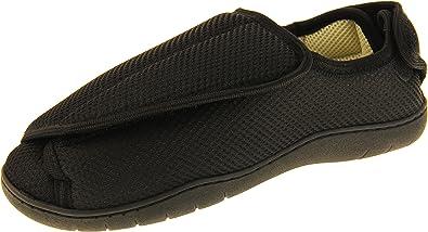 Footwear Studio, Pantofole ortopediche da uomo con velcro regolabile, Nero