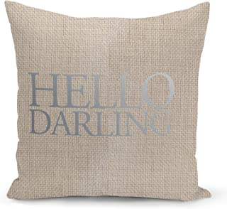 Funny Hello Darling Beige Linen Pillow with Metalic Silver Foil Print Home Couch Pillows