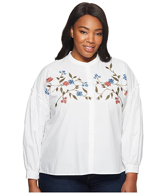 TWO by Vince Camuto Plus Size Long Sleeve Embroidered Bubble ...
