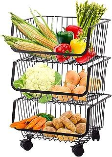 Rolling Stackable Wire Baskets Metal Utility Cart Storage Floor Standing Storage Bins Fruit Vegetable Snacks Pantry Organi...