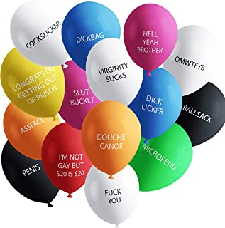 Funny Adult Balloons with Insults | Hilarious NSFW Gag Gift for Parties | 30 Pack | Naughty Abusive Balloons by Shitty Merch