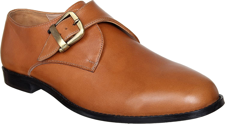 Lozano Tan Leather Single Monk Strap shoes Formal shoes Tan Brown