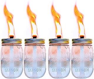 4 Pack Glass Mason Jar Tabletop Torch,Outdoor Oil Lamp Torch,Patio Garden Party Wedding Decor Torch Lights