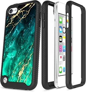 iPod Touch 7/6/5 Case, Full-Body Protective Rugged Bumper with Built-in Screen Protector, NageBee Ultra Thin Clear Shockproof Durable Cover Case Designed for iPod Touch 5th/6th/7th Generation -Emerald