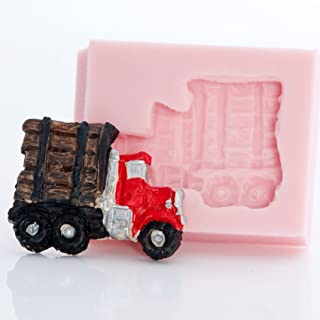 Small Log Truck Silicone Mold Food Safe Fondant, Resin, Polymer Clay Mold. Flexible easy to use. Jewelry, Craft or Food Mold.