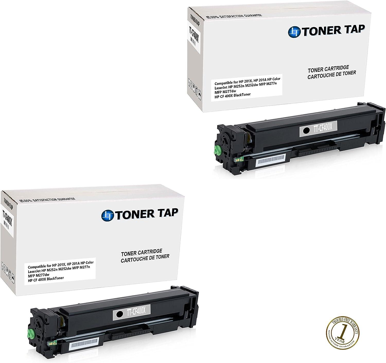 TonerTap Compatible for HP Color LaserJet Pro M252dw, M252n, M277dw, M277n, HP 201X, HP CF400X (2-Pack)