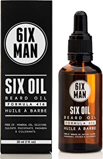 SIX OIL - BEARD OIL – Step 2 - Healthy Growth Formula - Skin Conditioning – Prevents Itchiness and Ingrown Hairs - Argan Oil, Jojoba Oil, Vitamin E - Vegan, Luxurious Natural Scent - 30ml