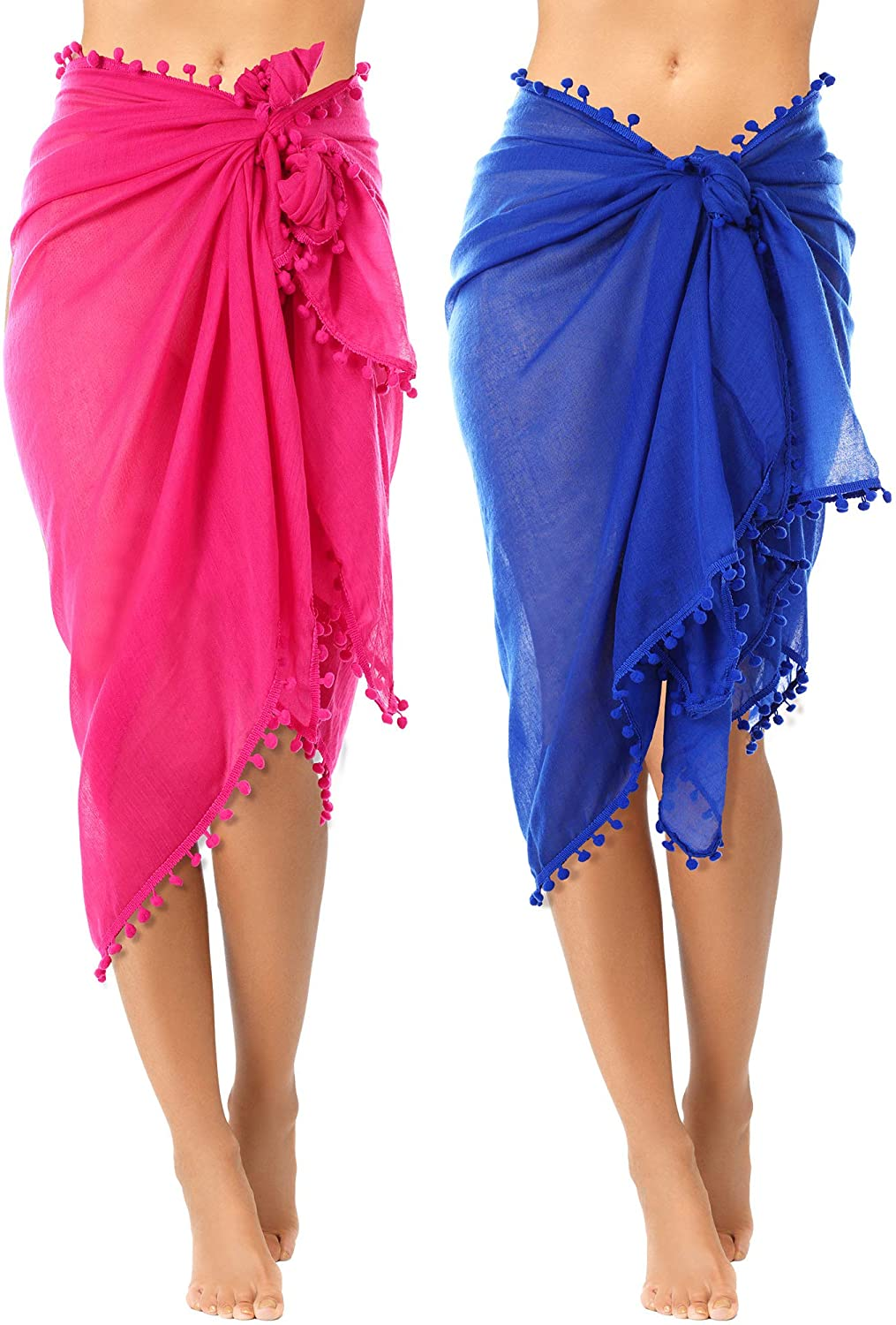 2 Pieces Women Beach Sarong Pareo Swimsuit Cover Ups Chiffon Long Sarong Wrap Pareo with Tassel for Women Girls