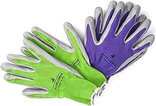 ابزارهای WILDFLOWER دستکش های باغبانی برای زنان و مردان - پوشش نیترولی برای حفاظت (کوچک، زرد / زرد رنگ سبز با سفید کاف حما)