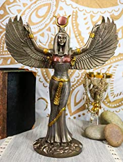 羽を広げた 古代エジプト女神 イシス彫像 彫刻 高さ30cm/Egyptian Theme Isis With Open Wings Goddess of Magic and Nature Bronzed Statue Sculpture[並行輸入品