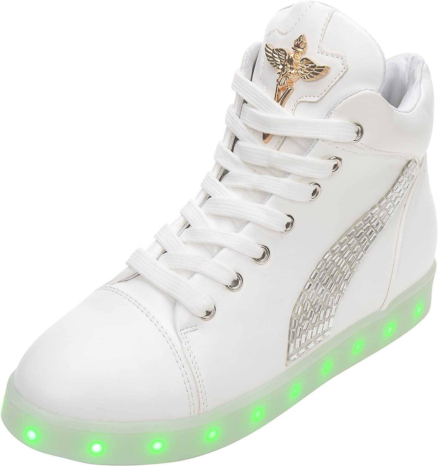 BININBOX Women's Fashion LED Light USB Charge Diamante High Top Wedge shoes White
