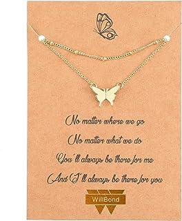 Collana con Pendente a Farfalla a Strati Collana Girocollo a Catena Multistrato Collana Lunga in Rame Regolabile per Donna