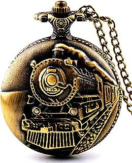 Unisex Antique Case Vintage Brass Rib Chain Quartz Pocket Watch Train NT004