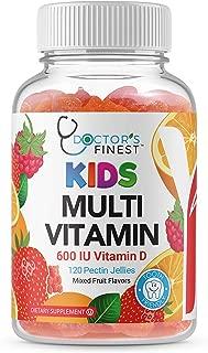 Doctors Finest Multivitamin Gummies for Kids, Vegetarian, GMO-Free & Gluten Free, Great Tasting Fruit Flavors Pectin Chews w/Vitamins A, C, D, E, 6 Different B Vitamins, 120 Count [60 Doses]