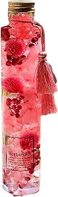 【Angelique】ハーバリウム ダブルタッセル付き ギフト 贈り物 誕生日 記念日 (ローズピンク, 丸瓶ロングボトル高さ215mm)