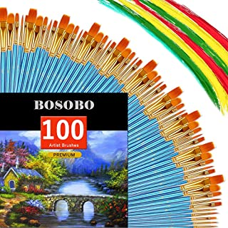 BOSOBO Round-Pointed Paintbrush Sets, 10 Pack / 100 pcs Fine Tip Nylon Hair Wooden Handle Detail Artist Paint Brushes in Bulk for Acrylic Watercolor Oil Painting, Craft Ceramics Face Painting, Blue
