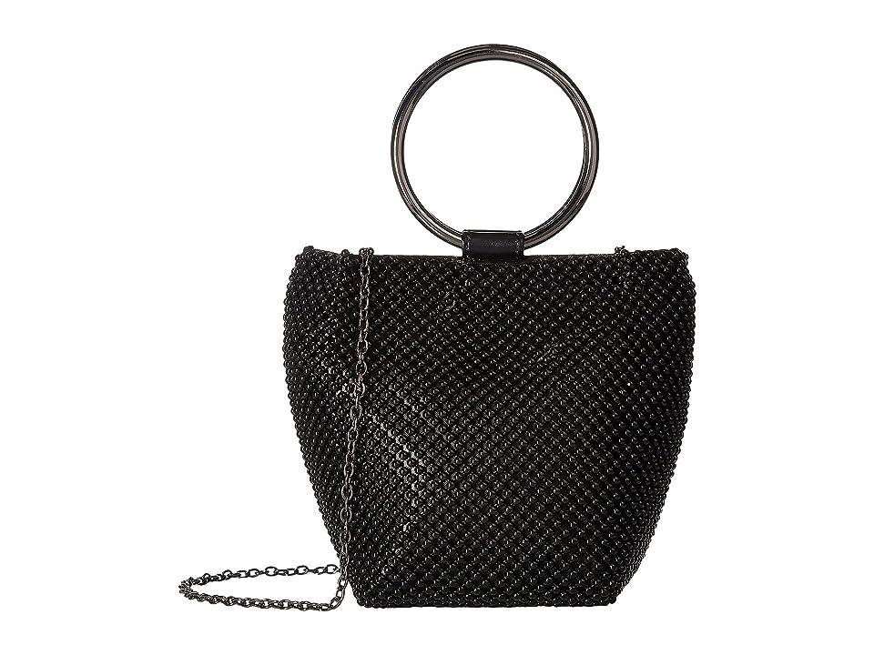 Jessica McClintock Gwen Ball Mesh Ring Wristlet Pouch Clutch (Black) Clutch Handbags