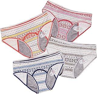 4 عبوات من القطن في سن المراهقة سراويل داخلية للنساء مانعة للتسرب الحيض ملابس داخلية ثقيلة التدفق Ge+robg Large
