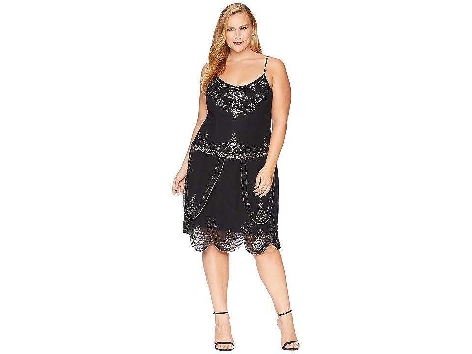 Unique Vintage Plus Size Deco Style Embellished Odette Cocktail Dress (Black) Women