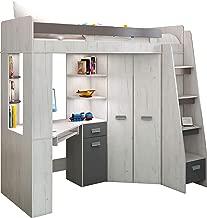 Lit Mezzanine / Lit superposé - TOUT EN UN. Escalier à droite - Ensemble pour enfants. Lit superposé, bureau, armoire, étagères - Artisanat Blanc / Graphite