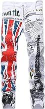 Enrica Men's Casual Flag Printed Jeans Skinny White Denim Pants