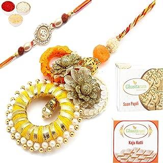 Ghasitaram Gifts Indian Sweets - Ghasitaram Gifts Indian Sweets Rakhis Online - Echoes of Care rm071 Bhaiya Bhabhi Rakhi with 200 gms of Kaju katli and 200 gms of Soan Papdi