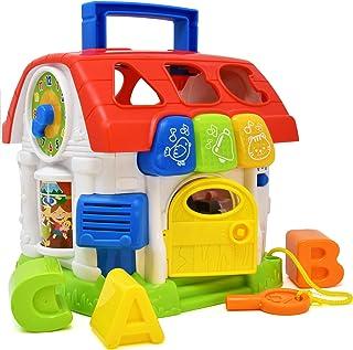 Juguete para casa de actividades musicales, juguete educativo para niños y niños, forma de aprendizaje, sonidos, alfabeto, animales, números y mucho más, juguete para bebés con luces y bloques de apilamiento y sorteo