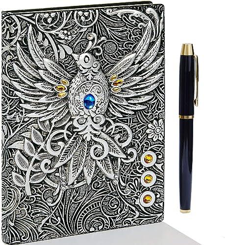 Fengco Carnet de notes vintage fait à la main avec couverture en cuir gaufré 3D 200 pages avec stylo doré Format A5