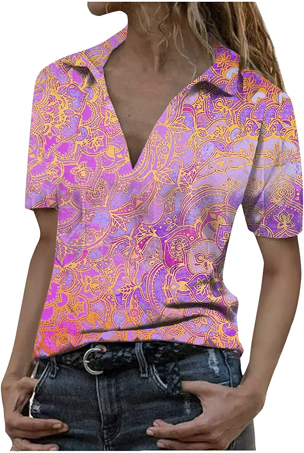 AODONG Cold Shoulder Tops for Women, Womens Summer Casual Print Cut Out Shoulder Tees Sexy V Neck Short Sleeve Shirts