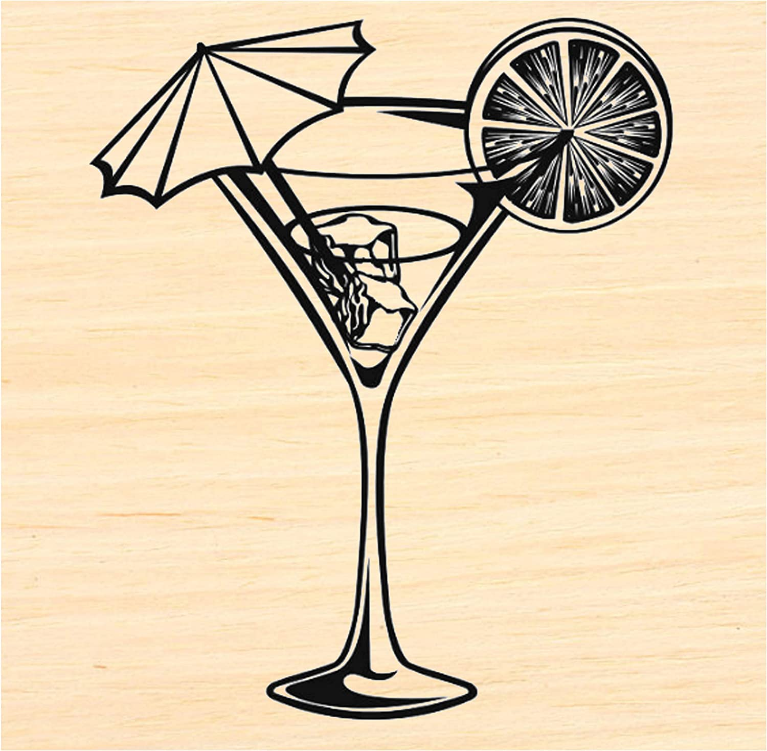 P123 Martini Drink Rubber Glass Stamp All stores are 100% quality warranty! sold