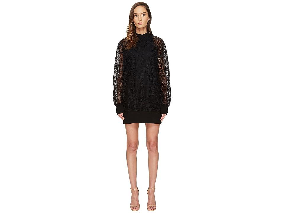 Vera Wang Long Sleeve Sheer Tank Dress (Black) Women