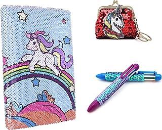 Aashiya Girl's Women Pack of 3 Girls Kids Unicorn Sequin Diary & 1 Sequin Pen + Sequin Keyring Coin Purse