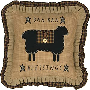 "VHC Brands Seasonal Primitive Pillows & Throws Baa Blessings 18"" x 18"" Pillow, Mustard Tan"