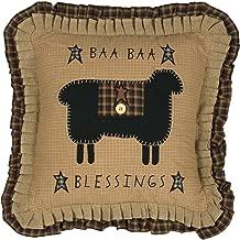 VHC Brands Seasonal Primitive Pillows & Throws Baa Blessings 18 x 18 Pillow, Mustard Tan