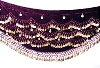 Velvet Belly Dance Hip Scarf Coin & Bead Belt Wrap UK FITS S M L XL to 4XL Plus Size (UK 8-24)
