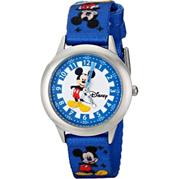 """Disney Kids' W000022 """"Time Teacher"""" Stainless Steel Watch with Blue Nylon Band"""